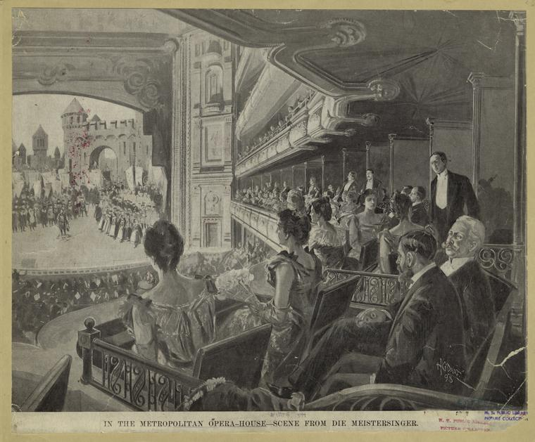 In the Metropolitan Opera House - scene from Die Meistersinger. (1898)