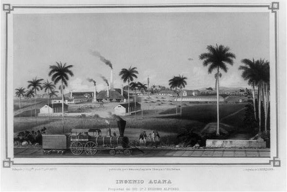 Cuban sugar refinery plant in 1857.