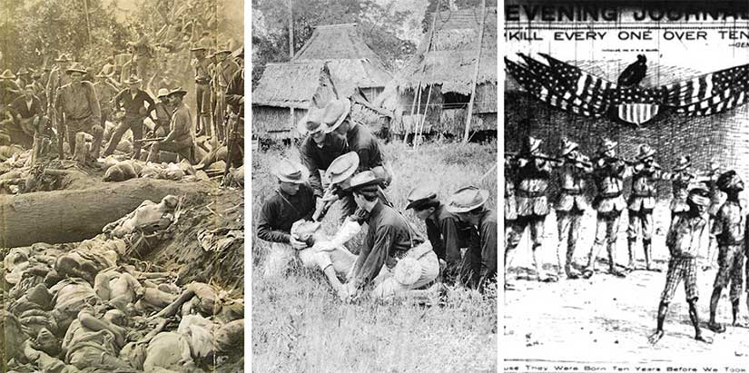 "From left to right: The trench of dead Moros at Bud Dajo (1906), a demonstration of the ""water cure"" by the 35th Volunteer Infantry, and the news headlines about General Smith's orders to kill all Filipinos capable of bearing arms, which he defined as over the age of ten."