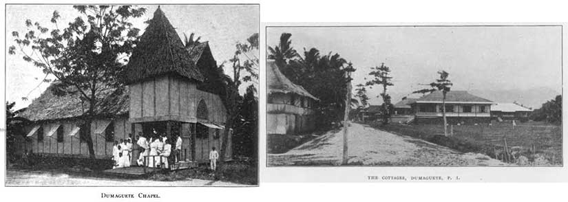Some more pictures of Silliman University that inspired my Brinsmade Institute, including the chapel and bell tower that Jonas plans to build (left) and the houses like the one in which Jonas and Rosa lived (right).