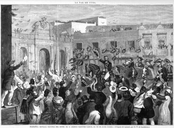 Illustration depicting a celebration at the end of the Ten Years' War.
