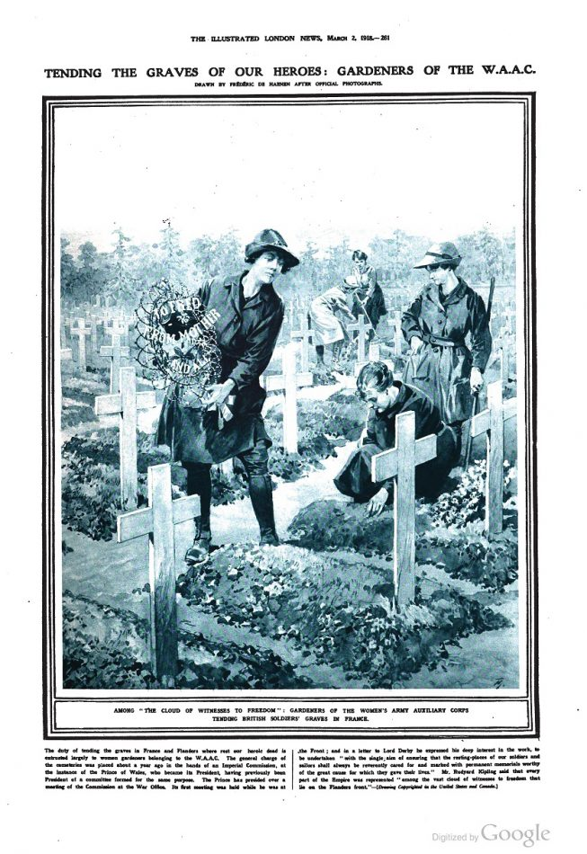 Gardeners of the Women's Army Auxiliary Corps tending British soldiers' graves in France, 1918