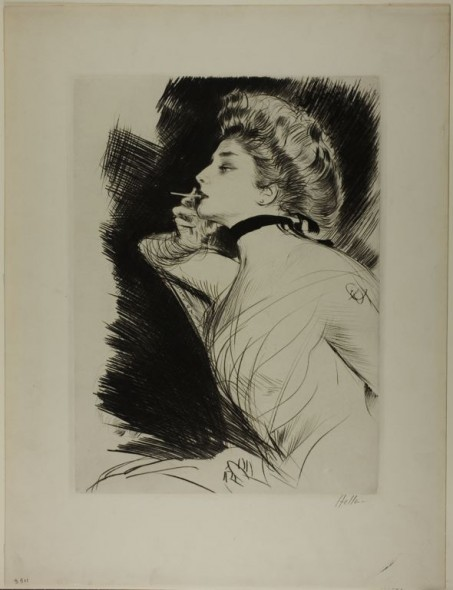 Helleu portrait of smoking woman
