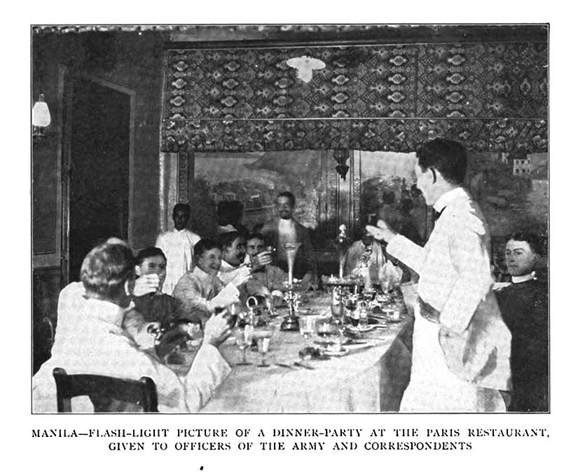 American expatriate navy officers at Paris restaurant in Manila Philippines in Gilded Age colony