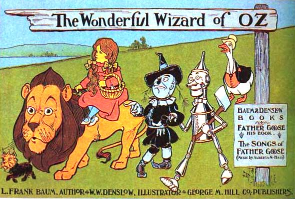 1900 poster advertising L. Frank Baum's Wonderful Wizard of Oz, courtesy of [Wikimedia Commons].