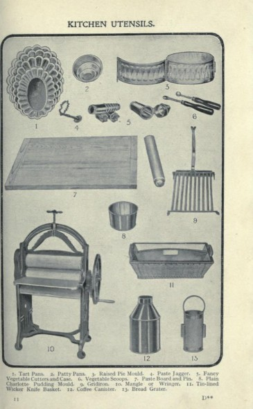 tart pans, patty pans, raised pie mould, paste jagger, fancy vegetable cutters and case, vegetable scoops, paste board and pin, plain charlotte pudding mould, gridion, mangle or wringer, tin-lined wicker knife basket, coffee canister, bread grater