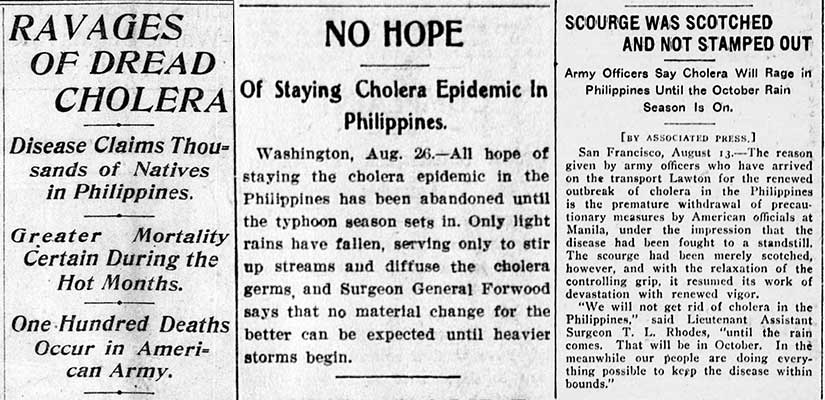 The hope of a quick end to the cholera outbreak was dashed by July and August 1902, as shown in these three articles.