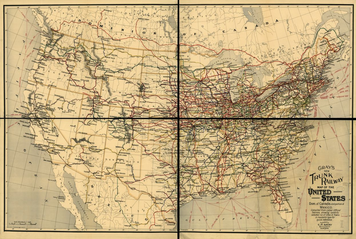 Gray's new trunk railway map of the United States, Dom. of Canada and portion of Mexico.