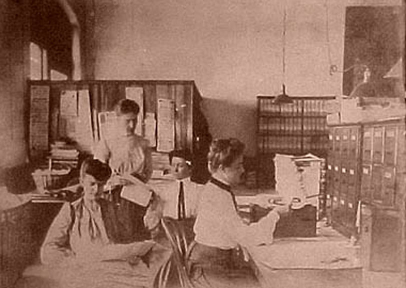 Edwardian women typing in an office