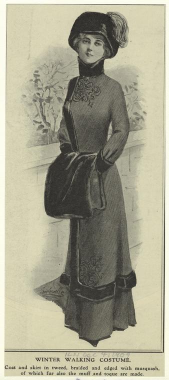 1909 winter walking costume