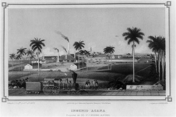 Cuban sugar refinery plant in 1857.