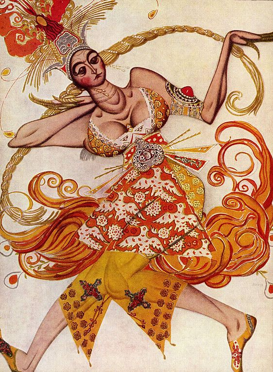 Costume design by Léon Bakst for principal female dancer in The Firebird, 1910 | via Wikipedia