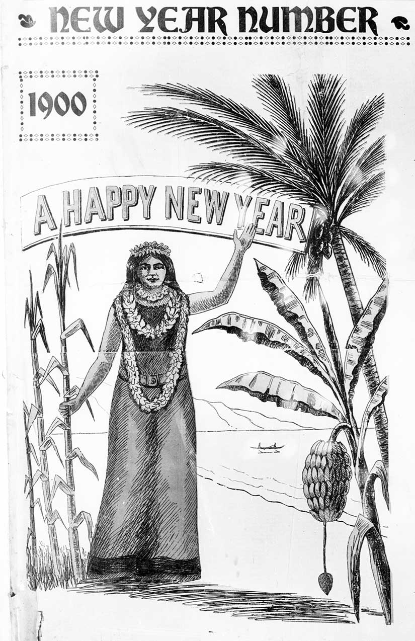 In Hawaii, the Pacific Advertiser welcomed the new year with an illustration of sugar cane, banana trees, and palm trees.