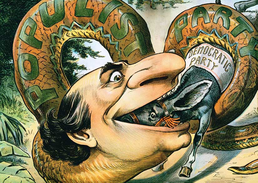 1896 Judge cartoon shows William Jennings Bryan and his Populism as a snake swallowing up the mule representing the Democratic party, his own. Courtesy of [Wikimedia Commons].