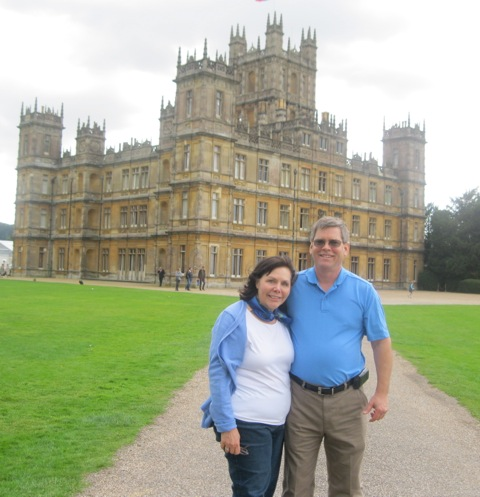 Carrie and husband at Highclere Castle