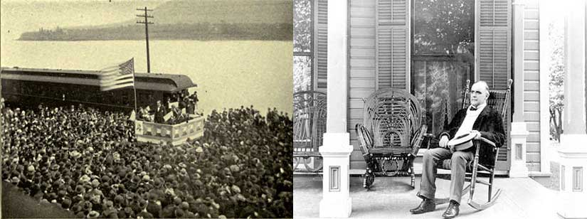 On left, Bryan speaks to a crowd in Wellsville, Ohio, courtesy of his own memoir [The First Battle]. On right, McKinley on his front porch only 50 miles away in Canton, Ohio [Remarkable Ohio].