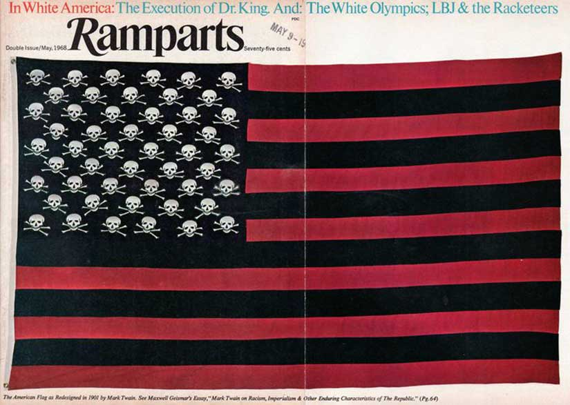 Mark Twain redesigned Old Glory with skull crossbones and black stripes reprinted in Vietnam anti-war protests