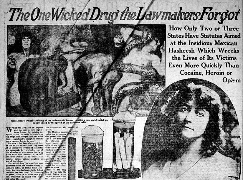A 1922 diatribe against the evils of marijuana in the Ogden Standard-Examiner, courtesy of the Library of Congress.