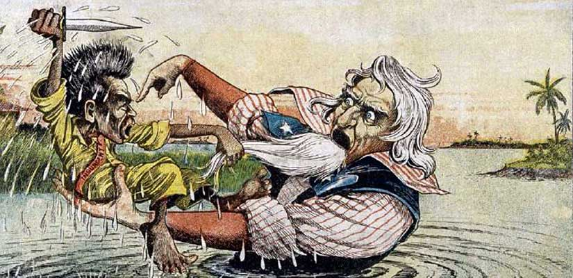 """Cartoon shows Uncle Sam sinking into the quagmire of the Philippine-American War as Filipino leader Emilio Aguinaldo resists his American """"rescue."""""""