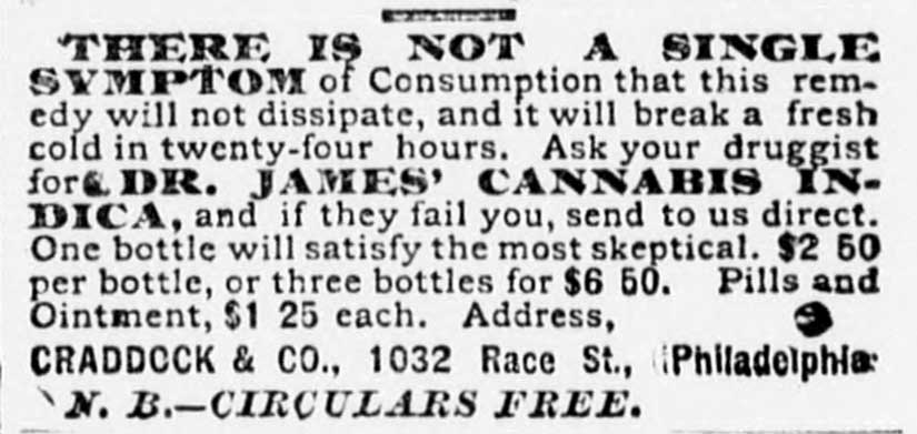 An advertisement for Dr. James's cannabis tonic, courtesy of the Library of Congress.