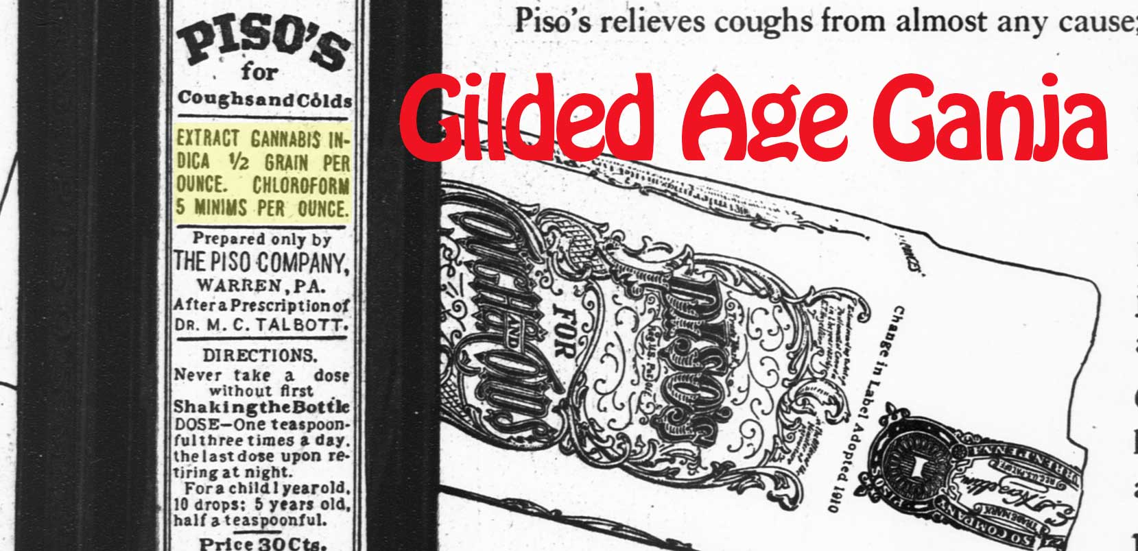 An ad for Pico's cough remedy, including cannabis as a key ingredient.
