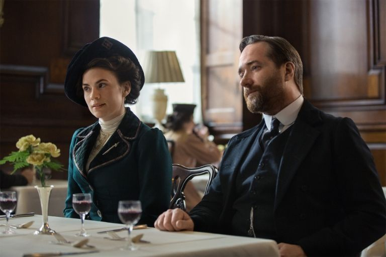 Hayley Atwell as Margaret Schlegel and Matthew Macfadyen as Henry Wilcox in Howards End. Starz