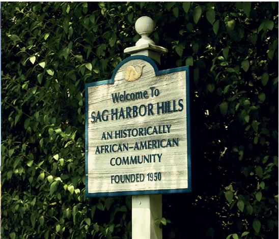 Historic plaque marking entrance into Sag Harbor