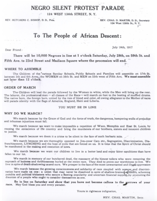 NAACP directives for 1917 Silent March