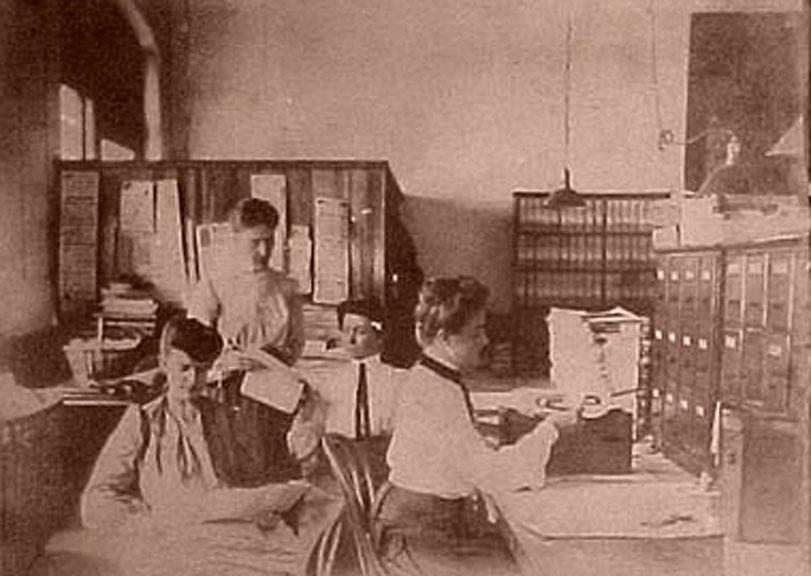 Edwardian women typing in an office
